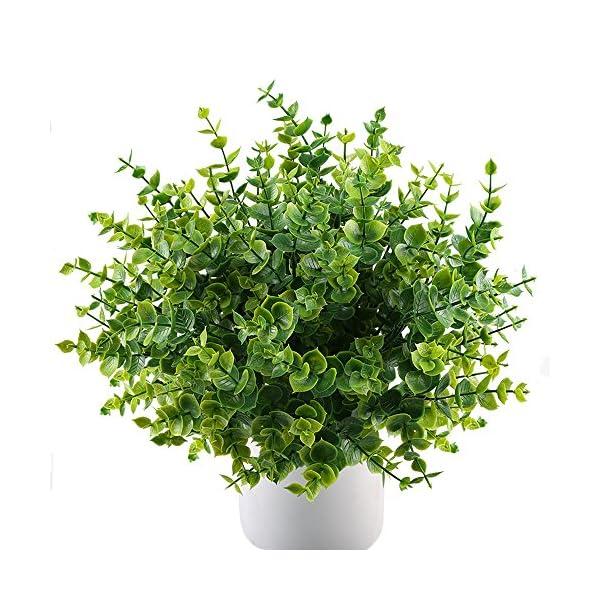 MIHOUNION 4 pcs Plantas Verdes Artificiales eucalipto Hojas arbustos de plástico y arreglo de Ramo simulación de Plantas…