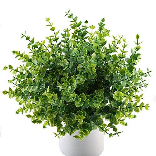 MIHOUNION Künstliche Pflanzen Kunststoff Stäucher Kunststoff Pflanzen Simulation Pflanzen Eukalyptus für küche Garten Badezimmer Fensterbank Ornament Grün 4 STK