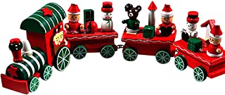 Chinahope-toy 4 Pieces Wood Christmas Xmas Train Decoration Decor Gift Puzzle Game Toys for Kids Early Learning Educational Toys for Kids Gifts School Educational