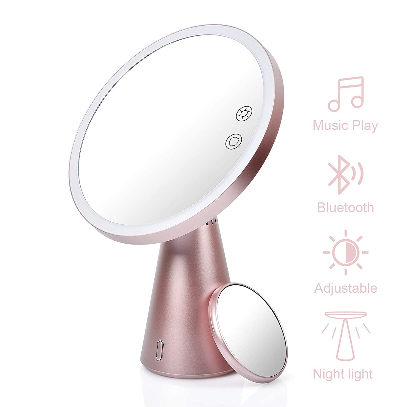 偶然定規マイルストーンライト付きメイクアップミラー Bluetoothスピーカー付き 魅力的な充電式LEDミラーライト 7倍率 調節可能な色 明るさ カウンタートップコスメティックメイクアップ用