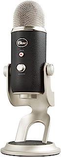 Blue Microphones Yeti - Micrófono USB para grabación y streaming en PC y Mac, 3 cápsulasde condensador, 4 patrones de captación, Salida de auriculares y control de volumen, color Negro/Plata