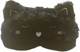 Song Qing Lovely Plush Black Cat Happy Travel Sleeping Eye Mask Cover Blindfold for Sleep