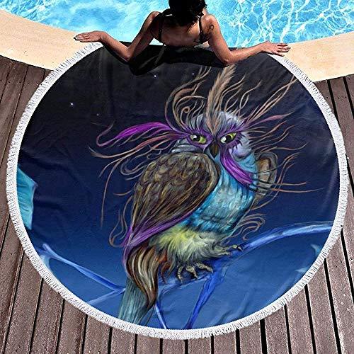 Duanrest strandhanddoek deken paarse uil met masker nacht Sky dikke strand Roundie picknick tapijt yogamat met kwast voor volwassenen
