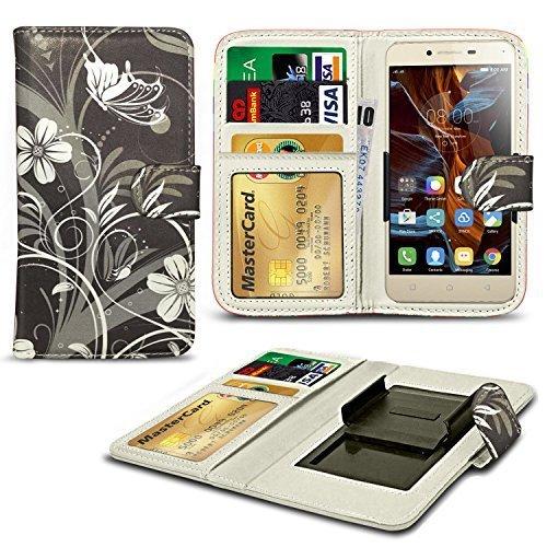 N4U ONLINE® Verschiedene Muster Clip Serie Kunstleder Brieftasche Hülle für Oppo Joy 3 - schwarz Blumen