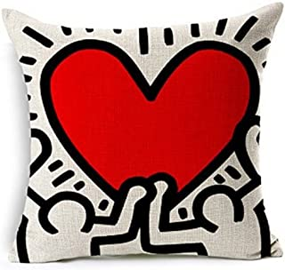 Keith Haring's Graffiti-art Printing Style Cotton Linen Throw Pillow Case Cushion Cover Home Office Decorative, Square 18 X 18 Inches