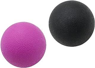 2個 マッサージボール ストレッチボール トリガーポイント トレーニング 背中 肩 腰 マッサージ 多色選べる - ブラックパープル