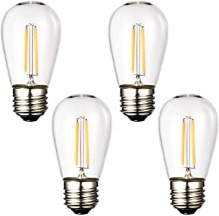Mpow E26 LED Bulbs, 1.5W S14 Edison Vintage Bulbs, E26 Medium Base, 150lm 2700k Warm White for Outdoor String Lights Bulb Replacement Bistro Porch Patio Garden Deck Cafe Lighting 4-Pack