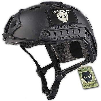 ATAIRSOFT Fast PJタイプ タクティカル アウトドア エアソフトヘルメット 米軍風 多機能サバゲーヘルメット マウントレール付き ABS製 かっこいいヘルメット (ブラック)