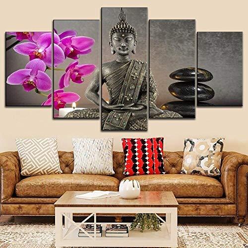 QWASD Velas Orquídeas Buda Zen Cuadros En Lienzo Pintura 5 Paneles Cuadro Moderno para Niños Habitación Decoración para El Hogar 150Cm×80Cm,con Marco