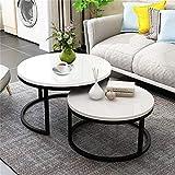 YAzNdom Mesa De Café 2 Mesa Redonda Té Café Desk Set Doble Conjuntos De Funciones Múltiples Madera Acero Sala Decoración Adecuado para Habitaciones De Comedor (Color : White, Size : M)