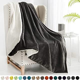 "Walensee Sherpa Blanket (Throw Size 50""x60"" Dark Grey), Super Soft Fleece Plush Blankets for Bed, Couch, Sofa, Fuzzy Warm Cozy Microfiber Flannel Lightweight Throw Blanket for Adults, Man, Woman"