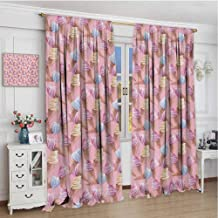 GUUVOR Ice Cream Blackout Curtain Dessert with ICY Cones in Watercolor Summer Season Image 2 Panel Sets W120 x L84 Inch Pale Pink and Blue Sand Brown