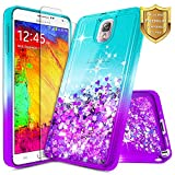 NageBee Galaxy Note 3 Case w/[Tempered Glass Screen Protector], Glitter Liquid Quicksand Waterfall Floating Flowing Sparkle Bling Cute Case Designed for Samsung Galaxy Note 3 -Aqua/Purple