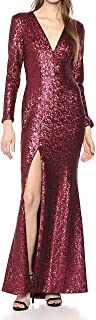 Dress the Population womens ALESSANDRA PLUNGING LONG SLEEVE SEQUIN GOWN MAXI DRESS Dress