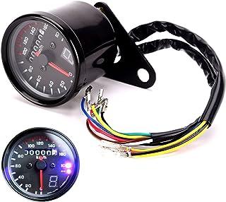 IZTOSS 2.6 inch / 67 mm Black Motorcycle Dual Odometer Speedometer Gauge LED Backlight Signal Light