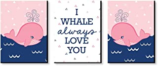 Big Dot of Happiness Tale of a Girl Whale - Baby Girl Nursery Wall art and Kids Room Decorations - Christmas Gift Ideas - 7.5 x 10 inches - Set of 3 Prints