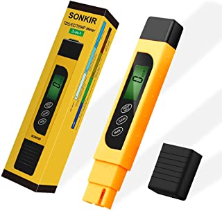 TDS Meter, Sonkir 3-in-1 TDS/EC/Temp Meter, Digital Water Quality Tester for Drinking Water Purity Test, Swimming Pools, Aquariums, Hydroponics, Measure 0-9999ppm (Yellow)