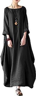 VONDA Abiti Donna Lunghi Manica Cotone Eleganti Vestiti Girocollo Tinta Unita Taglie Forti Casual Inverno Autunno