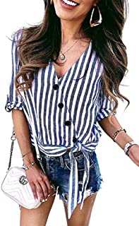 Ivay Women's Fall Striped Button Up Front Tie Shirt Casual Loose Short Sleeve Tops