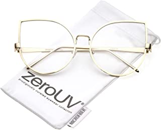 Oversize Slim Metal Arms Round Clear Flat Lens Cat Eye...