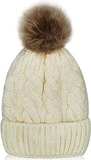 قبعة صغيرة مبطنة للأطفال من WhitelepvKid - كابل مترهل محبوك قبعة جمجمة طفل قبعة تزلج للأطفال للبنات والأولاد