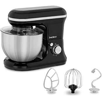Bredeco Stand Mixer Kitchen Machine Electric Mixer Kneading Machine Dough Blender Accessories 5L Black BCPM-1200B (1200W, 230V, 6 Speeds, Bowl Ø 23cm, Bowl Capacity 5L, Bowl Height 18cm)