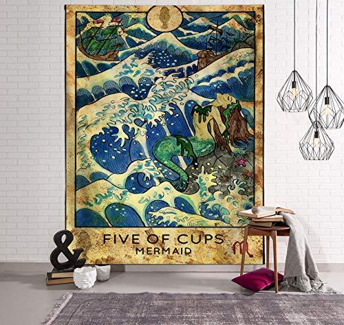 WERT Tarot Sol y Luna Patrón Manta Tarot Indio Mandala Tapiz Colgante de Pared Bohemia Gypsy Home Dormitorio Decoración Tapiz A16 130x150cm