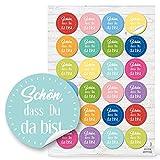 96 runde Aufkleber bunt rosa gelb blau grün SCHÖN DASS DU DA BIST 4 cm Sticker Etiketten für...