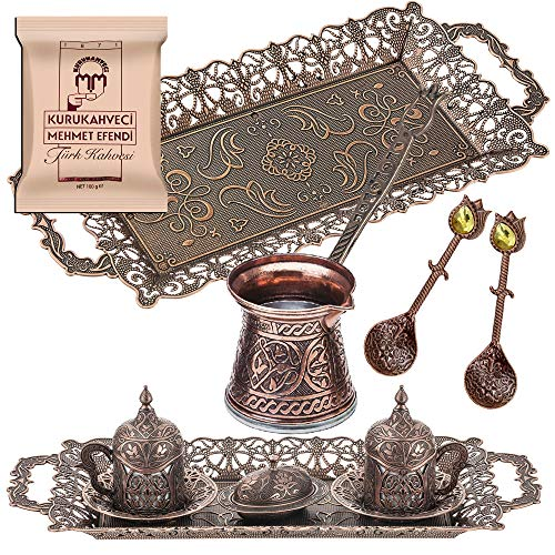 Turkish Coffee for Serving Set - 14 Pieces - Turkish Coffee - Porcelain Cups with Large Tray Saucers Pot Sugar Bowl - 2 Spoons Vintage Engraved Embroidered Design - Boxed Best Gift Idea (Copper)