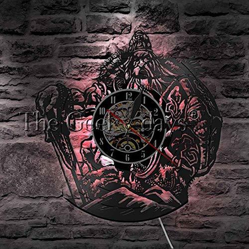 12 Zoll leuchtende Wanduhr Tägliches Nachtlicht 1 Stück Nordische Mythologie Odin Kunst Wanduhr dekorative Beleuchtung LED Pendelleuchte Viking Warrior Schwert und Schild Vinyl Wanduhr Schwarz Gla