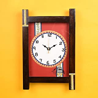 Aakriti Art Creations Madhubani Red Wall Clock