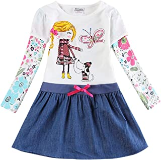 Jxs Neat Juxinsu Girl Long Sleeve Cotton Stripe Dresses Kids Clothes for 1-6 Years AL6499