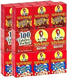Sun Maid Raisins Variety Pack 36 count - 12 Boxes Plain Raisins,12 Boxes Yogurt Covered Raisins, 12 Boxes Dark Chocolate Yogurt Flavored Raisins (36)