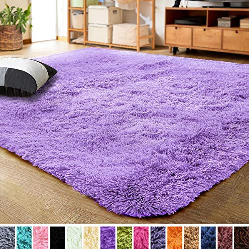 LOCHAS Ultra Soft Indoor Modern Area Rugs Fluffy Living Room Carpets for Children Bedroom Home Decor Nursery Rug 4x5.3 Feet, Purple