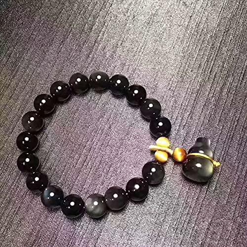 Feng Shui Wealth Black Obsidian Pulsera para Mujeres Natural Rainbow Eye Obsidian Gourd Wu Lou Amarillo Tigre Tiger Pulsera Pulsera Amuleto Atraer Fortune,10MM