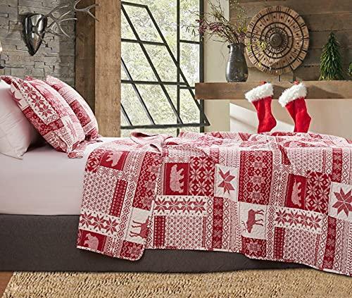 Juego de edredón tamaño queen, ropa de cama de Navidad para el hogar, colcha rústica de casa de campo, colcha de vacaciones, colcha...
