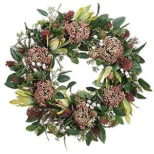 19″ Silk Protea, Thistle & Sedum Flower Hanging Wreath -Green/Burgundy