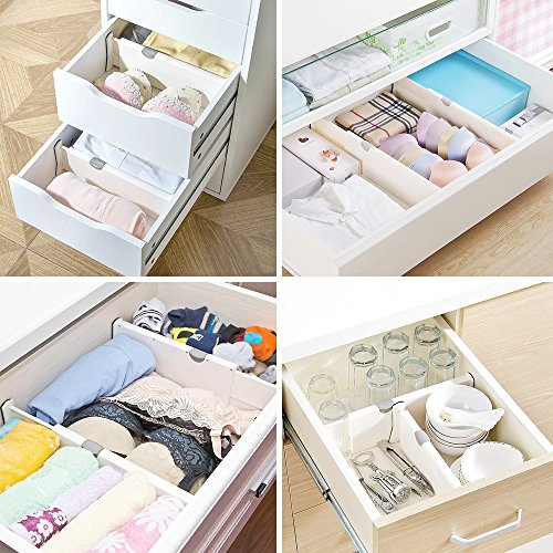 4 Pack adjustable dresser drawer dividers Organizers, Plastic Expandable Drawer Organization Separators For Kitchen, Bedroom, closet, Bathroom and Office Drawers