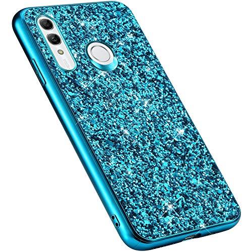 MoreChioce kompatibel mit Huawei Honor 10i Hülle,Huawei Honor 10i Handyhülle,Gold Chrom Glitzer Strass Silikon Bumper Schutzhülle Kratzfeste Durchsichtig Tasche Hybrid Protective Back Cover