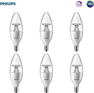 Philips LED 461905 Soft White 40 Watt Equivalent Dimmable B11 LED Light Bulb, Candelabra Base Frustation Free 6 Pack, 6-Pack, 6 Piece