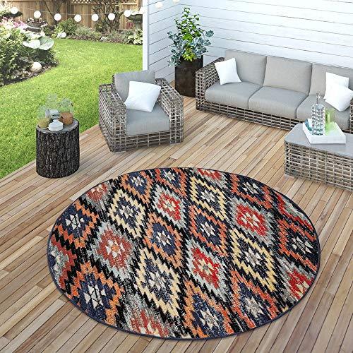Paco Home In- & Outdoor Teppich Modern Zickzack Muster Terrassen Teppich Wetterfest Bunt, Grösse:Ø 160 cm Rund