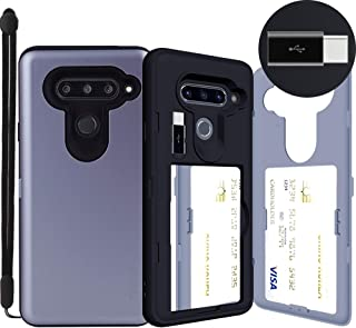 LG V40 ThinQ, SKINU [LG V40 Wallet] V40 Charger Dual Layer Hidden Credit Holder ID Slot Card Case with Wrist Strap Inner USB Type C Adapter and Mirror for LG V40 ThinQ V40+ ThinQ (2018) - Orchid Gray