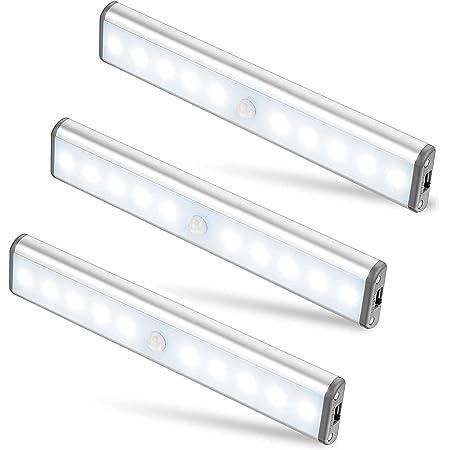 Moston Lot de 3 Lampes 10 LED, Sans Fil, Rechargeable par USB, Aimanté, Détecteur de Mouvement, 2 Modes d'Éclairage, Portable. Lumière de Placard, Baladeuse de Secours, Veilleuse Enfant, Appoint …