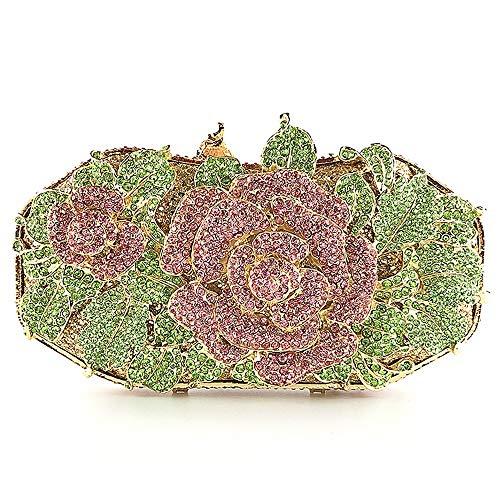De enige goede kwaliteit diamant groene roze bloemen banket avondtas handtas bruiloft geschenk bruid jurk clutch tas ketting schoudertas portemonnee dameskleding 18 * 6,5 * 9cm
