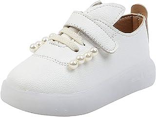 WINJIN Chaussures Enfants BéBé Enfants Filles Chaussures De Princesse Perle Chaussures De LumièRe Led Chaussures De Course...