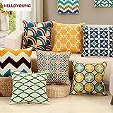 HELLOYOUNG Funda de cojín de Lino de algodón con Funda de Almohada geométrica Simple para sofá decoración del hogar Capa De Almofadas Cojin 45x45cm (05)