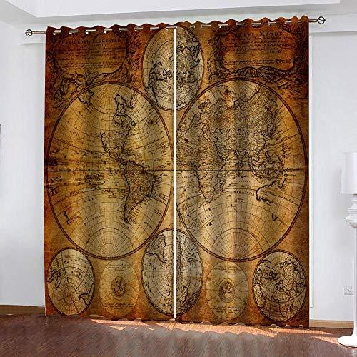 N / A Cortina Opaca 3D Mapa Náutico Vintage 3D Cortinas Opacas De Aislante Adecuado para Balcon Salón Habitación Dormitorio-Modernos Cortinas De La Cortina