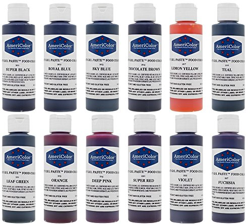AmeriColor 12 Color Kit, Soft Gel Paste Food Coloring, 4.5 oz Bottles.