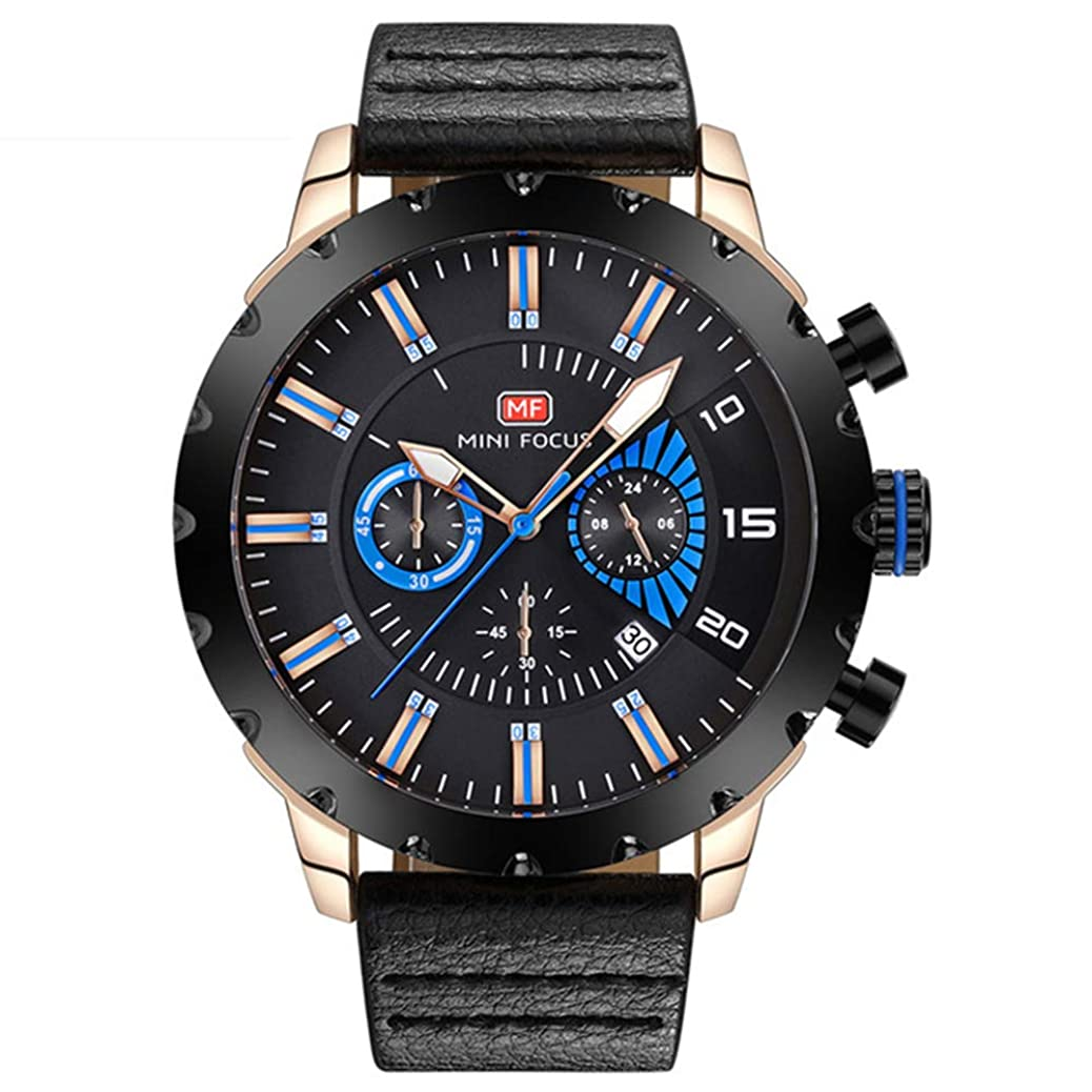 Tayhot Men Black Leather Chronograph Watch,Military Quartz Analog Date Calendar Black Dial Waterproof Men's Luxury Casual Business Dress Watch with Rose Gold Case xpfl0844996410