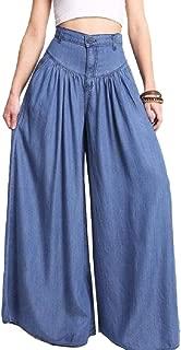 Women Soft Plus Size Wide Legs Pants Casual High Waist Trousers Long Pants